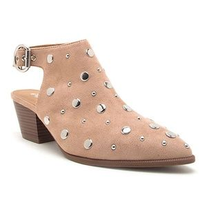 Qupid - Taupe Studded Bootie // Size 8